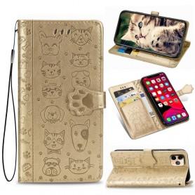 iPhone 11 Pro kullanvärinen kissa ja koira suojakotelo