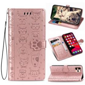 iPhone 11 Pro ruusukulta kissa ja koira suojakotelo