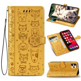 iPhone 11 Pro keltainen kissa ja koira suojakotelo