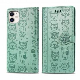 iPhone 11 mintunvihreä kissa ja koira suojakotelo