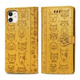 iPhone 11 keltainen kissa ja koira suojakotelo