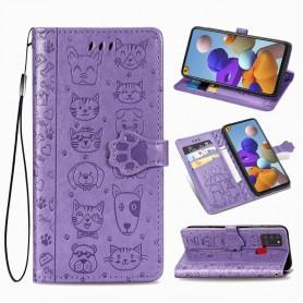 Samsung Galaxy A21s violetti kissa ja koira suojakotelo