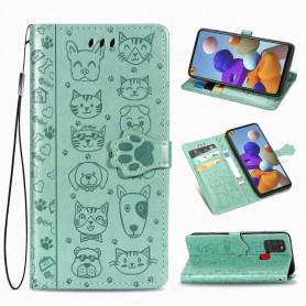 Samsung Galaxy A21s mintunvihreä kissa ja koira suojakotelo