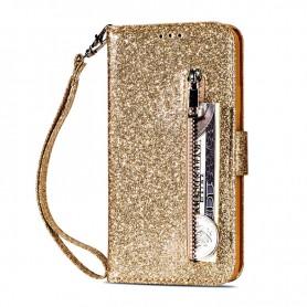 iPhone 7/8/SE 2020 vetoketjulinen kullanvärinen glitter suojakotelo