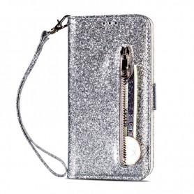 iPhone 7/8/SE 2020 vetoketjulinen hopeanvärinen glitter suojakotelo