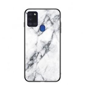 Samsung Galaxy A21s kiiltävä valkoinen marmori suojakuori