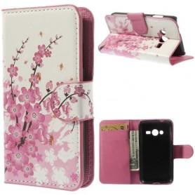 Galaxy Trend 2 vaaleanpunaiset kukat lompakkokotelo