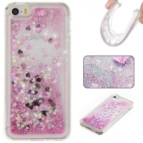 iPhone 5/5S/SE pinkki glitter hile suojakuori