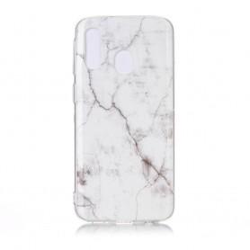 Samsung Galaxy A40 valkoinen marmori suojakuori