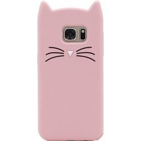 Galaxy S7 vaaleanpunainen kissa silikonisuojus.
