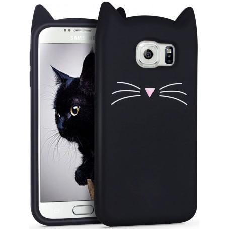Galaxy S6 musta kissa silikonisuojus.