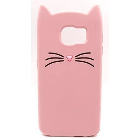 Galaxy S6 vaaleanpunainen kissa silikonisuojus.