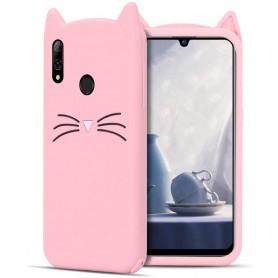 Huawei Honor 10 Lite / P Smart 2019 vaaleanpunainen kissa suojakuori.