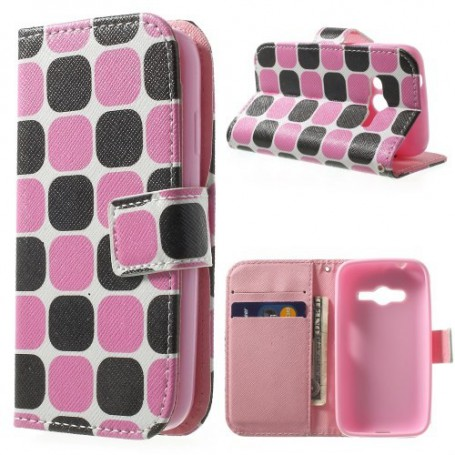 Galaxy Trend 2 pinkki-musta kuvio lompakkokotelo