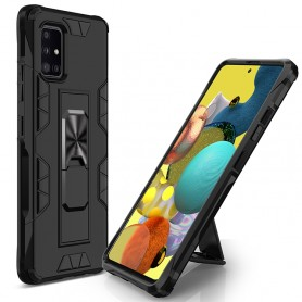Samsung Galaxy A51 5G musta suojakuori tukijalalla