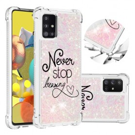 Samsung Galaxy A51 5G glitter hile never stop dreaming suojakuori