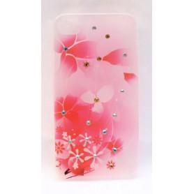 Vaaleanpunainen kukkakuvio iPhone 4 suojakuori.