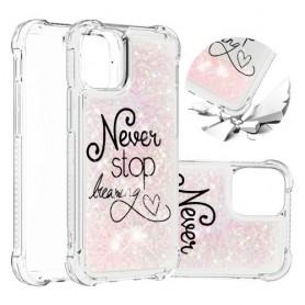 iPhone 12 mini glitter hile never stop dreaming suojakuori