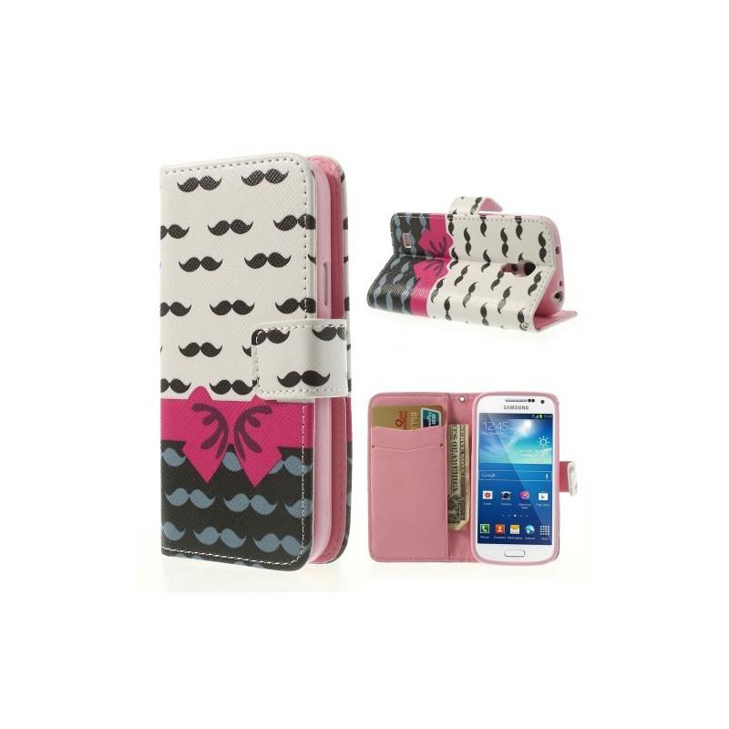 Galaxy S4 Mini viikset ja rusetti puhelinlompakko