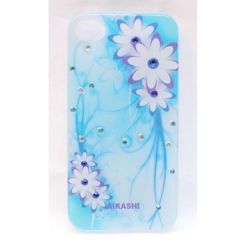 Vaaleansininen kukkakuvio iPhone 4 suojakuori.