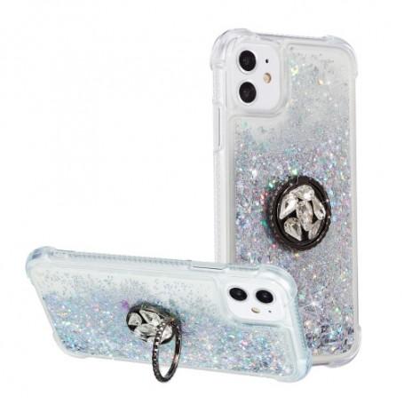iPhone 12 / 12 Pro hopea glitter hile suojakuori sormuspidikkeellä