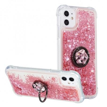 iPhone 12 / 12 Pro pinkki gliter hile suojakuori sormuspidikkeellä