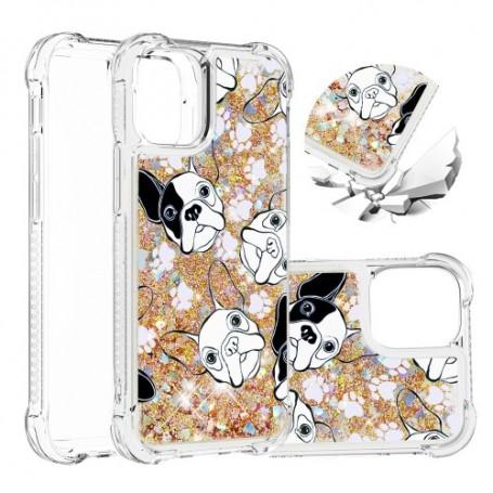 iPhone 12 / 12 Pro glitter hile koirat suojakuori