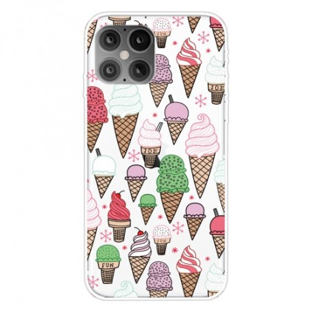 iPhone 12 / 12 Pro läpinäkyvä jäätelöt suojakuori