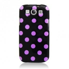 Galaxy S3 musta-pinkki polka dot suojakuori.