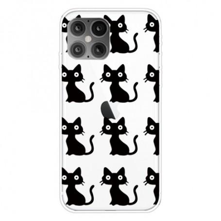 iPhone 12 / 12 Pro läpinäkyvä kissat suojakuori
