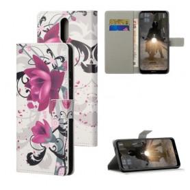 Nokia 2.4 violetit kukat suojakotelo