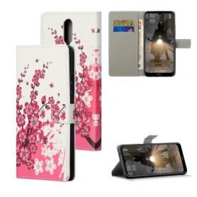 Nokia 2.4 vaaleanpunaiset kukat suojakotelo