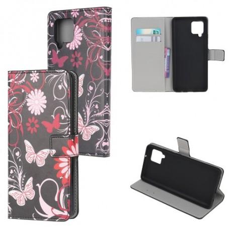 Samsung Galaxy A42 5G kukkia ja perhosia suojakotelo