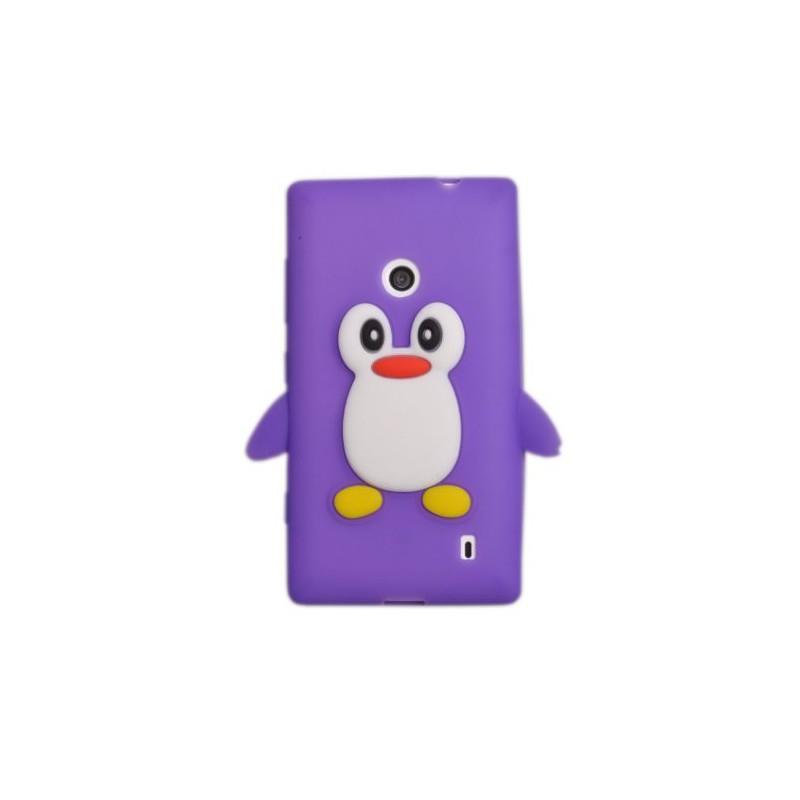 Lumia 520 violetti pingviini silikonisuojus.
