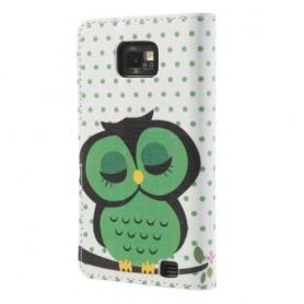 Samsung Galaxy S2 vihreä pöllö puhelinlompakko