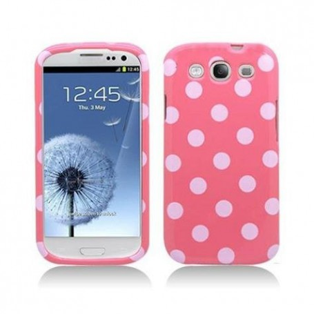 Galaxy S3 vaaleanpunainen polka dot suojakuori.