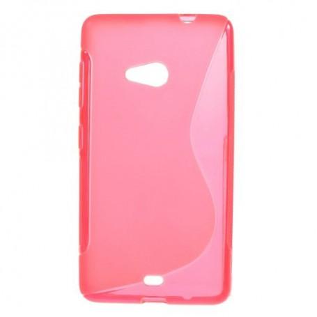 Lumia 535 roosan punainen silikonikuori.
