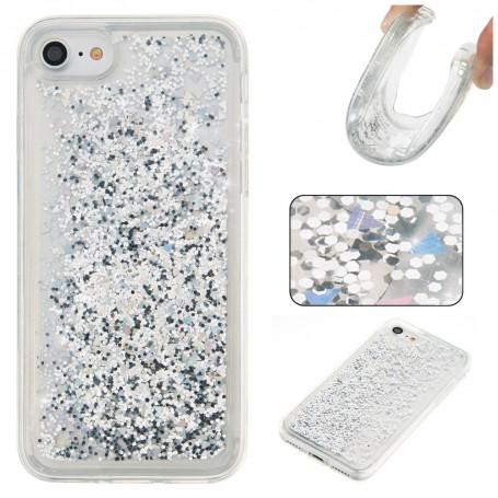 iPhone 6/6s/7/8/SE 2020 hopeanvärinen glitter hile suojakuori