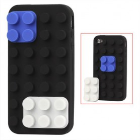 iPhone 4 musta rakennuspalikat silikonisuojus.