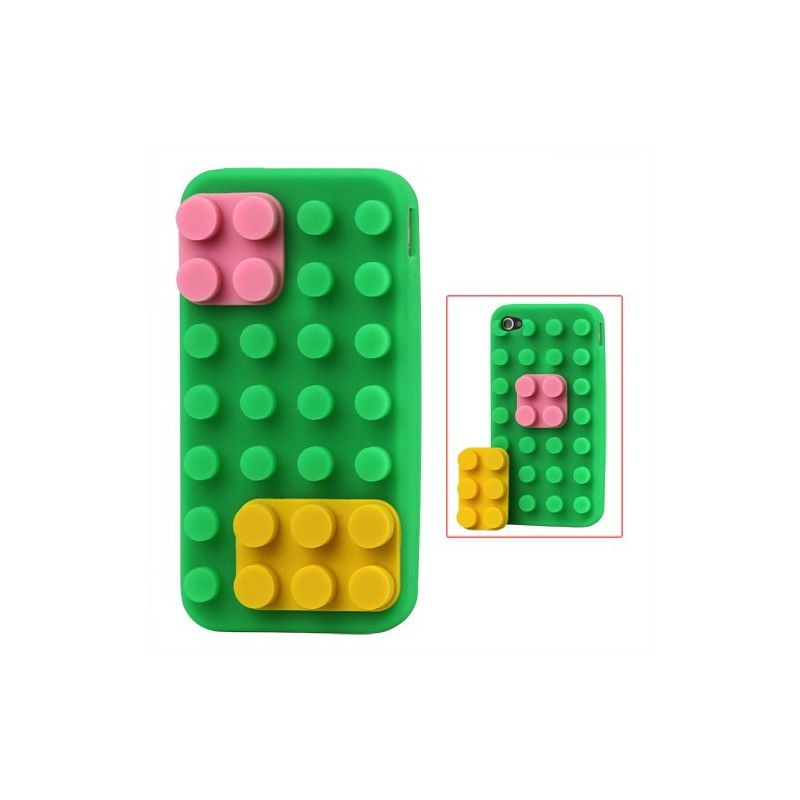 iPhone 4 vihreä rakennuspalikat silikonisuojus.