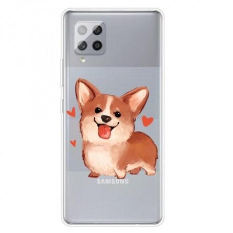 Samsung Galaxy A42 5G läpinäkyvä koira suojakuori