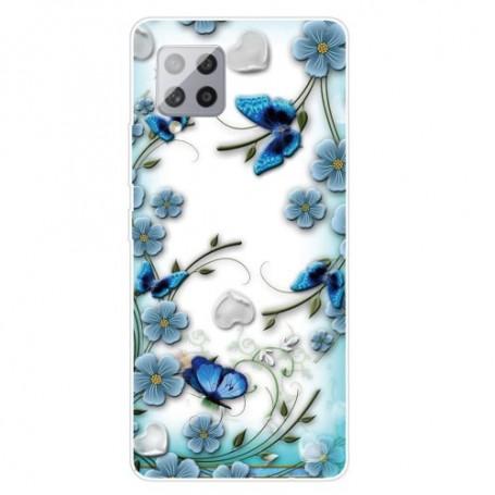 Samsung Galaxy A42 5G läpinäkyvä kukat suojakuori