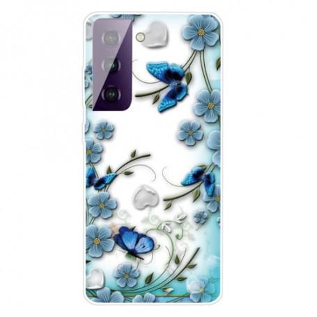 Samsung Galaxy S21 läpinäkyvä perhoset suojakuori