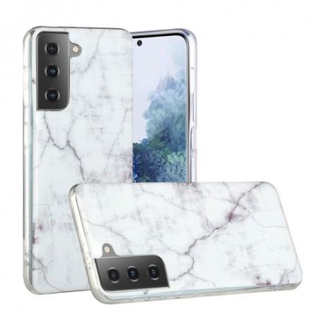 Samsung Galaxy S21 Plus valkoinen marmori suojakuori