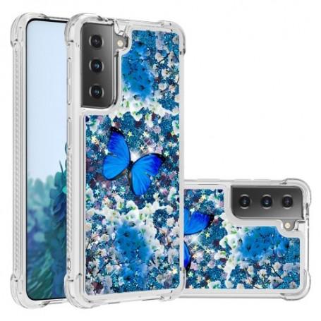 Samsung Galaxy S21 Plus glitter hile sininen perhonen suojakuori