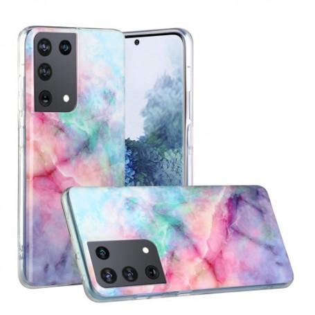 Samsung Galaxy S21 Ultra värikäs tie-dye marmori suojakuori