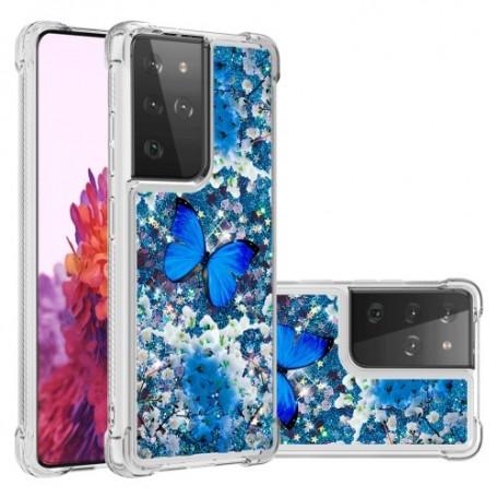 Samsung Galaxy S21 Ultra glitter hile sininen perhonen suojakuori