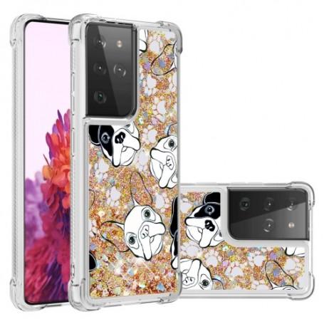 Samsung Galaxy S21 Ultra glitter hile koirat suojakuori