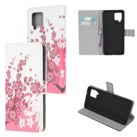 Samsung Galaxy A12 vaaleanpunaiset kukat suojakotelo