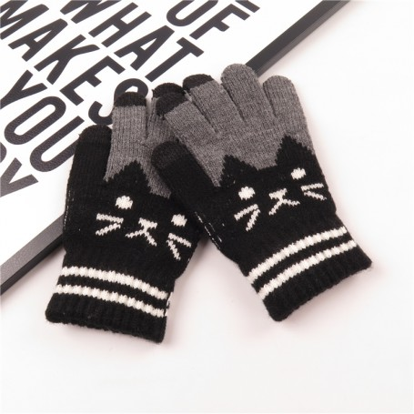 Lasten mustat kissa kosketusnäyttösormikkaat